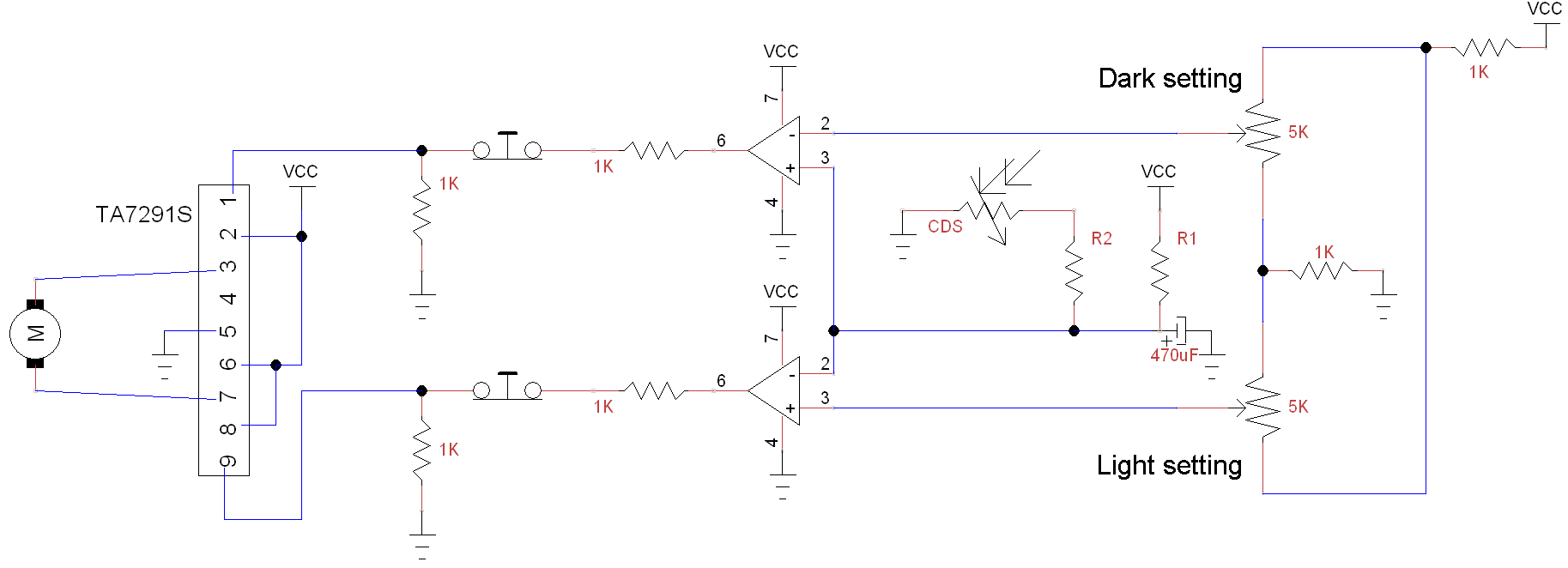 Here is a PDF schematic, with more info: Automatic Door Circuit